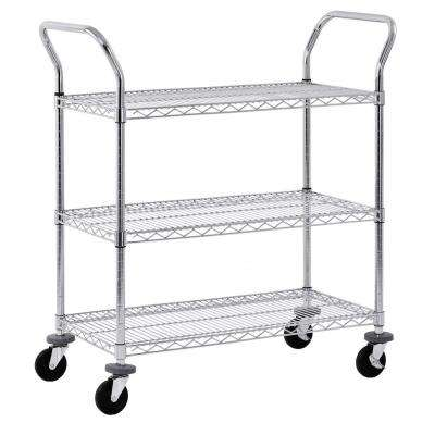 38 in. 3-Tier NSF Chrome Wire Cart