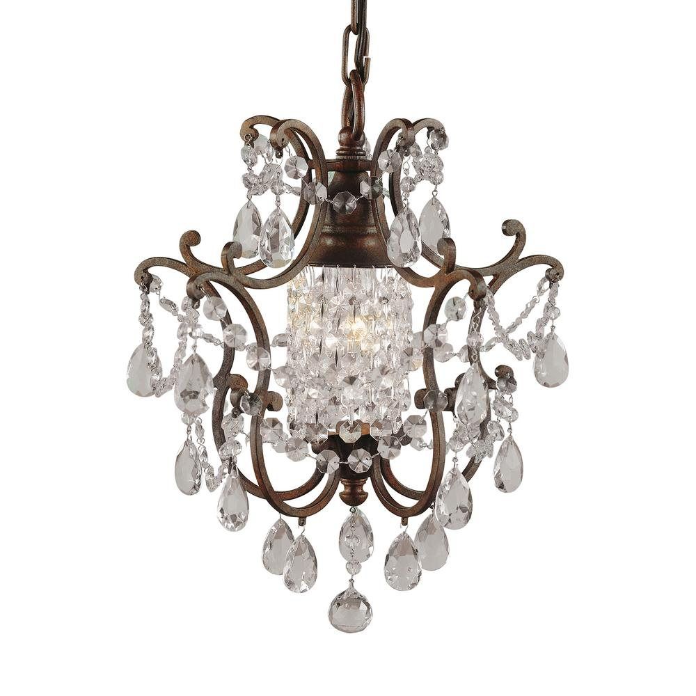 Feiss Maison De Ville 11 in. W 1-Light British Bronze French Country Mini Chandelier with Crystal and Bead Accents