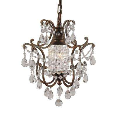 Maison De Ville 11 in. W 1-Light British Bronze French Country Mini Chandelier with Crystal and Bead Accents