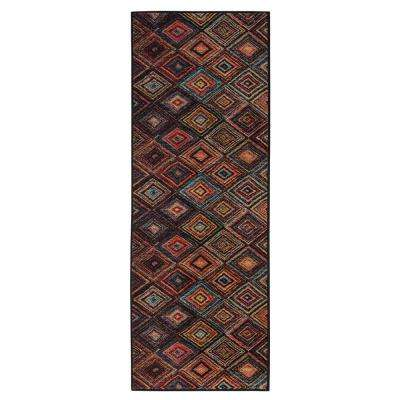 Authentic Collection Abstract Diamonds Design Multi 2 ft. x 6 ft. Runner Rug
