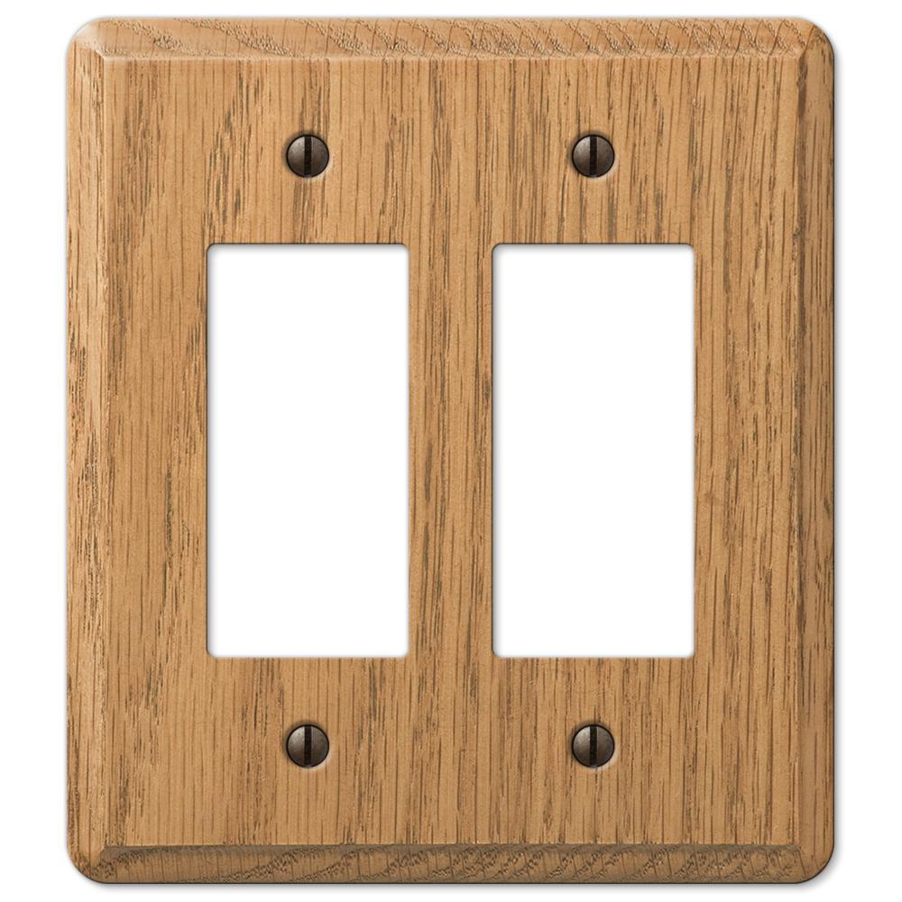 Contemporary 2 Gang Rocker Wood Wall Plate - Light Oak