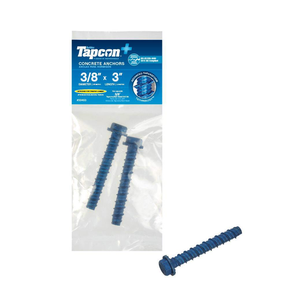 Tapcon 3/8 in. x 3 in. Hex-Washer-Head Large Diameter Concrete Anchors (2-Pack)
