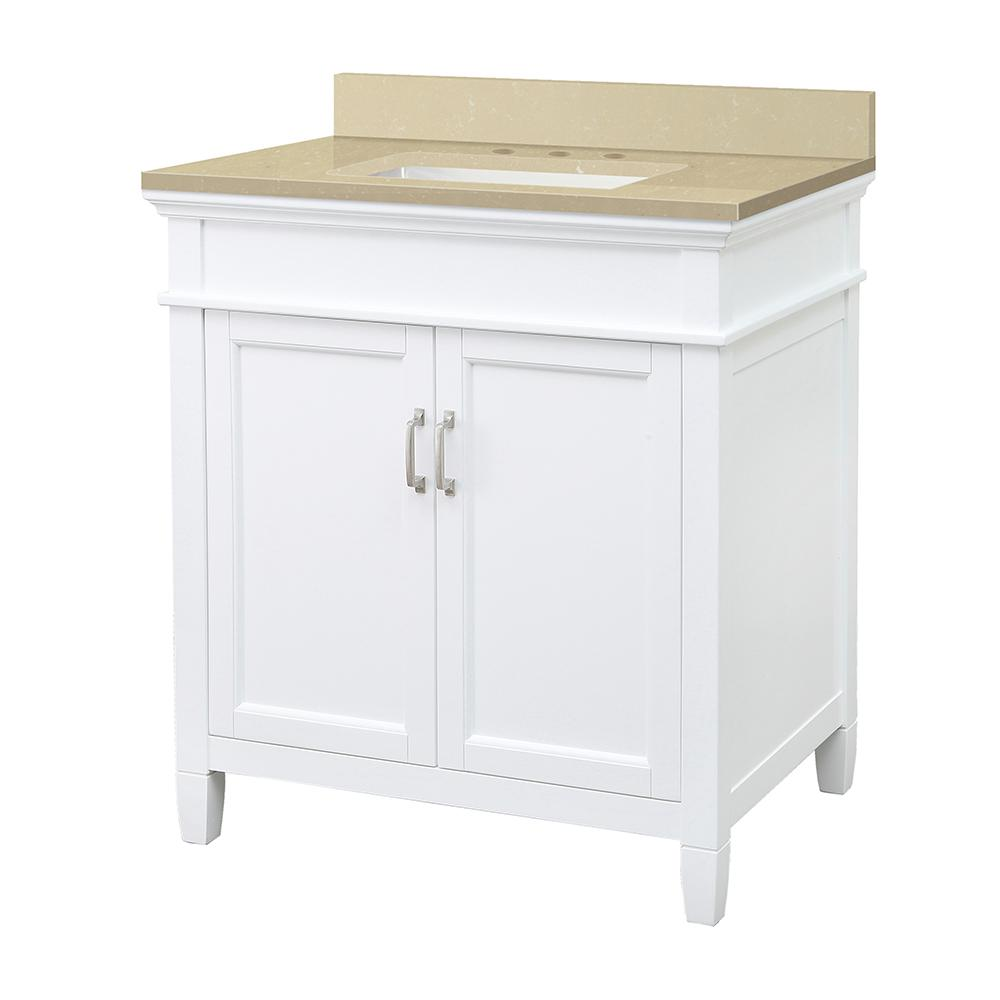 Home Decorators Collection Ashburn 31 in. W x 22 in. D Vanity Cabinet in White with Engineered Marble Top in Crema Limestone with White Sink was $649.0 now $454.3 (30.0% off)
