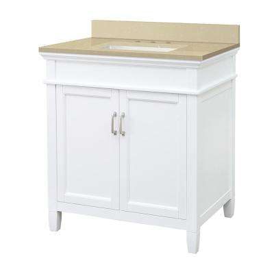Ashburn 31 in. W x 22 in. D Vanity Cabinet in White with Engineered Marble Top in Crema Limestone with White Sink