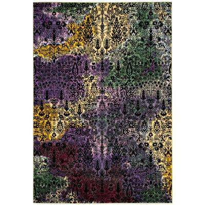 Watercolor Light Yellow/Green 8 ft. x 10 ft. Area Rug