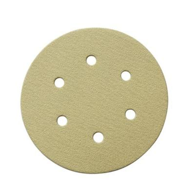 6 in. 6-Hole 150-Grit Hook and Loop Sanding Discs in Gold (50-Pack)