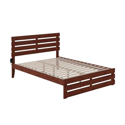 Oxford Walnut Queen Bed with Footboard and USB Turbo Charger