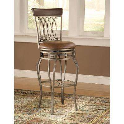 Montello 48.5 in. Old Steel Finish Swivel Cushioned Bar Stool