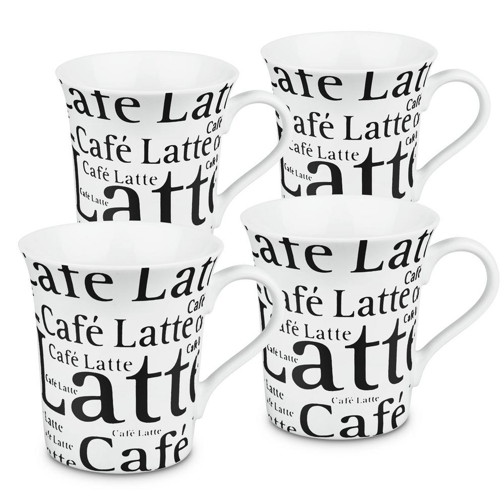 Konitz 4-Piece Cafe Latte Writing on White Porcelain Mug Set
