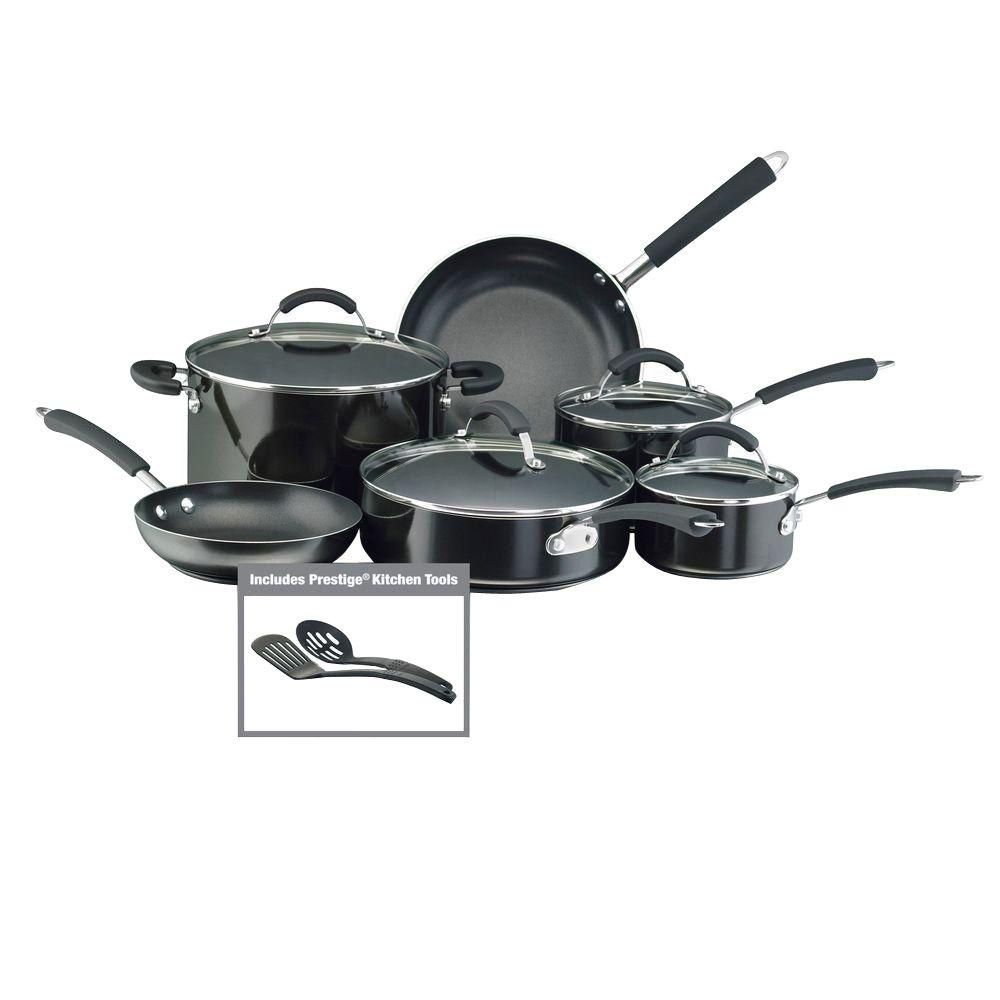 Farberware Millennium 12-Piece Black Cookware Set with ...