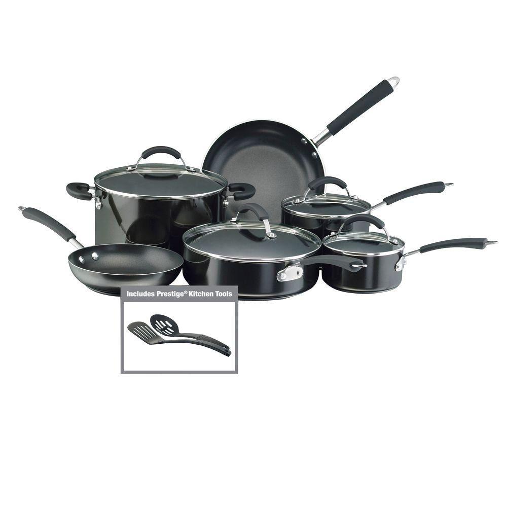 Millennium 12-Piece Aluminum Nonstick Cookware Set in Black