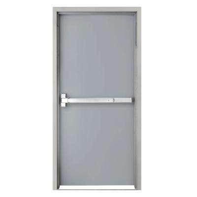 36 in. x 80 in. Fire-Rated Left Hand Unfinished Steel Commercial Door Slab with Panic Bar and Adjustable Frame