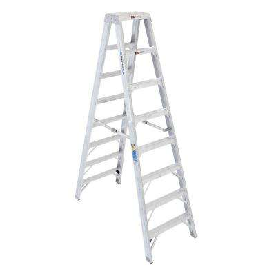 8 ft. Aluminum Twin Step Ladder with 375 lb. Load Capacity Type IAA Duty Rating