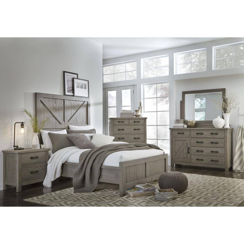 Modus Furniture Austin Light Wood Rustic Grey King Panel Bed With Barn Door Headboard 9x13f7 The Home Depot