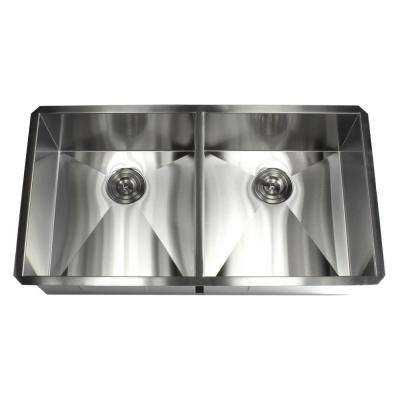 Undermount 37 in. x 20 in. x 10 in. Deep Stainless Steel 16-Gauge Double Bowl 50/50 Zero Radius Kitchen Sink