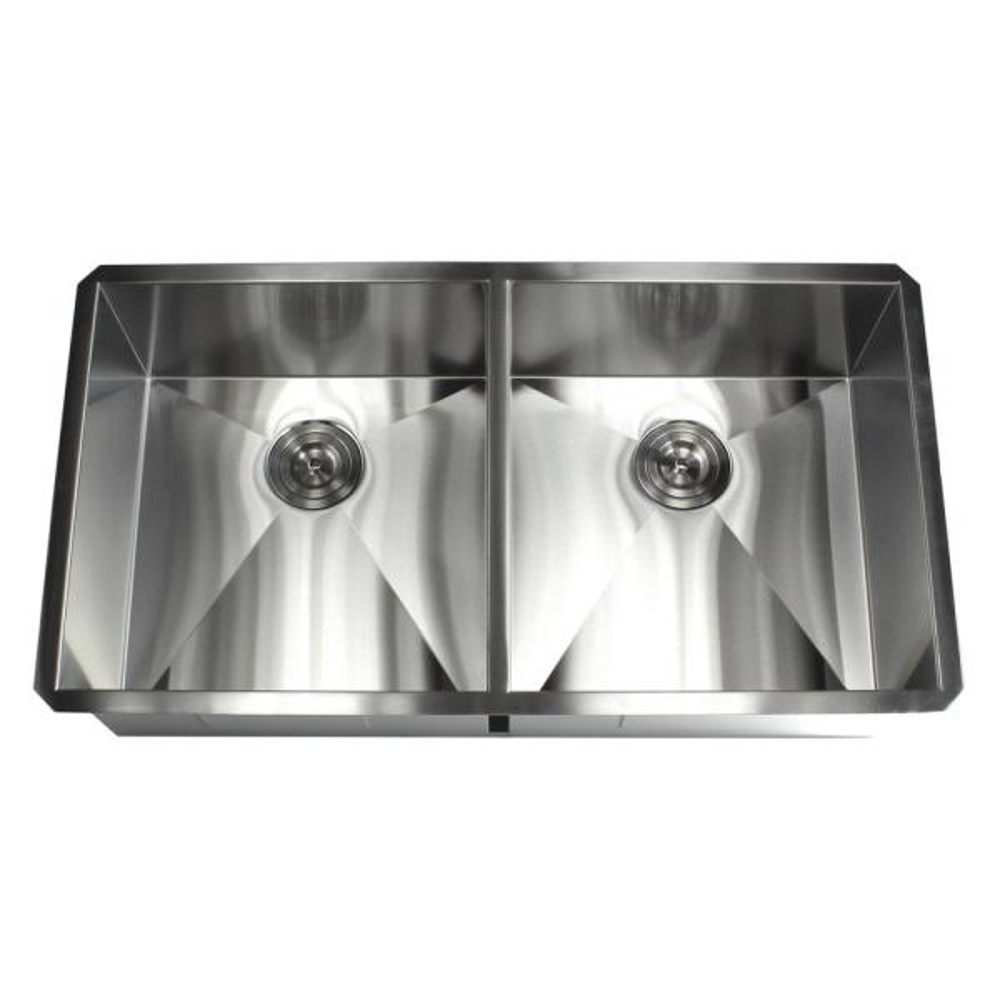 Undermount 37 in. x 20 in. x 10 in. Deep Stainless Steel 16-Gauge Double Bowl 50/50 Zero Radius Kitchen Sink