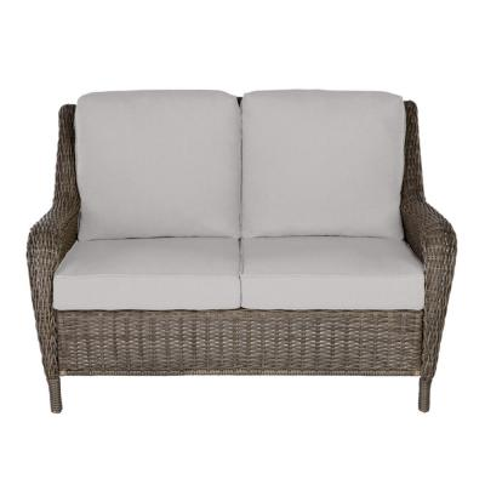 Cambridge Gray Wicker Outdoor Patio Loveseat with CushionGuard Stone Gray Cushions