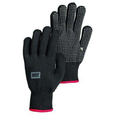 Mollis Size 10 Large Lightweight Knit Gloves with Rubber Grip Palm in Black
