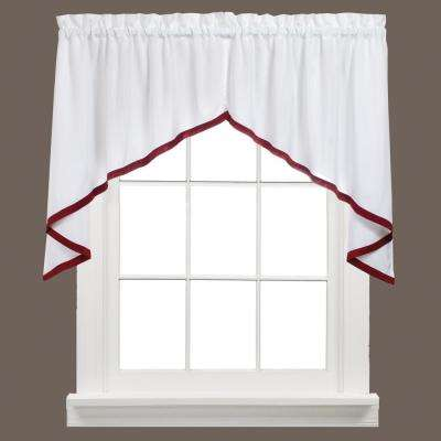 Kate 28 in. L Polyester Swag Valance Pair in Berry