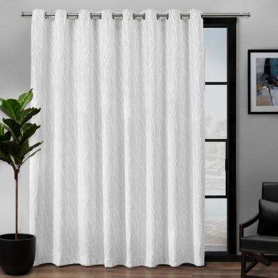 Forest Hill Patio Woven Blackout Grommet Top Curtain Panel in White - 108 in. W x 84 in. L