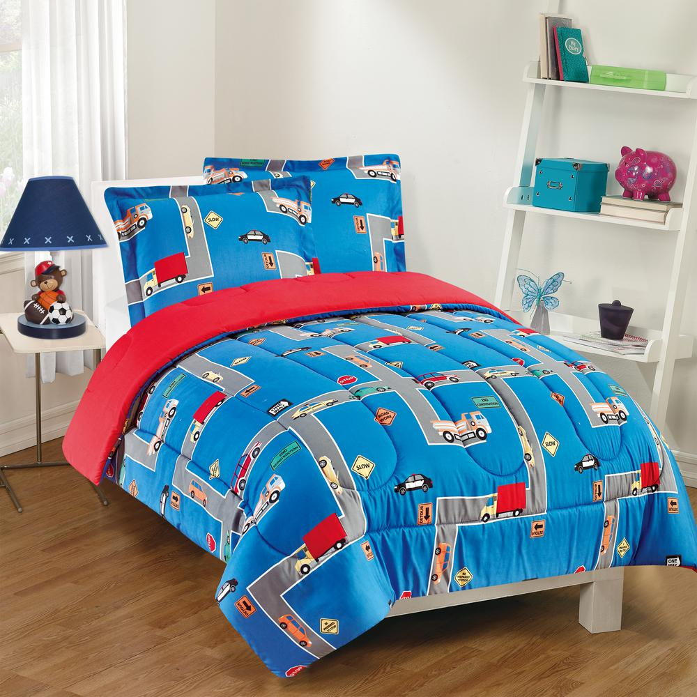 City Streets 2-Piece Blue Twin Comforter Set