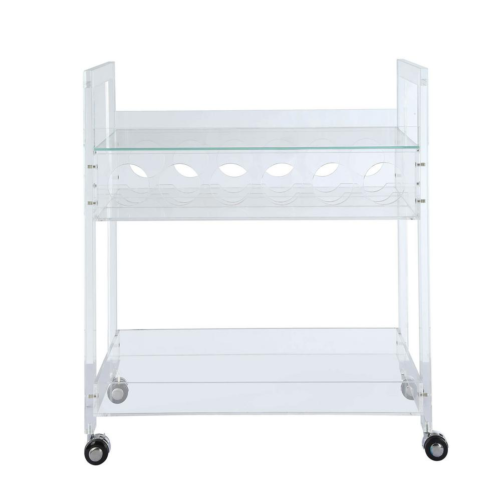 Foxglove Clear Acrylic and Clear Glass Serving Cart
