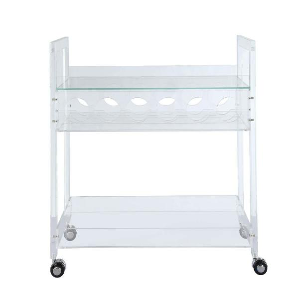 Acme Furniture Foxglove Clear Acrylic and Clear Glass Serving Cart 98005