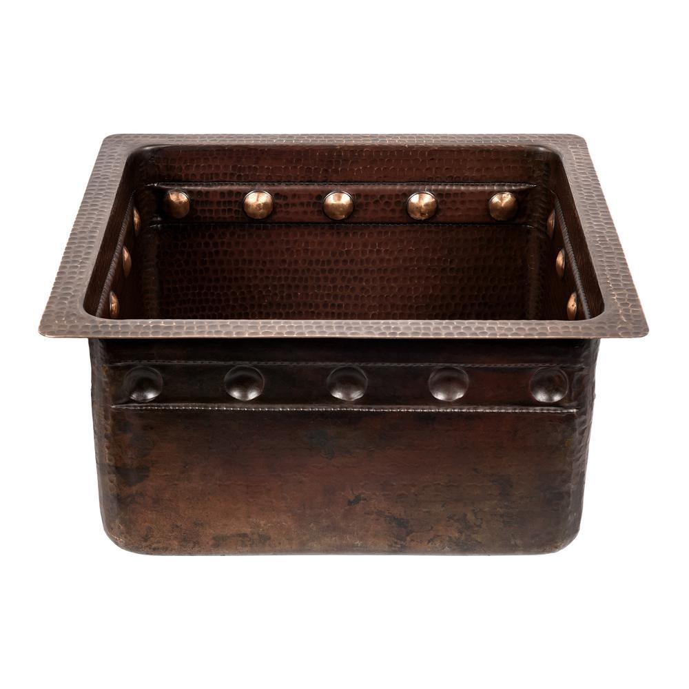 Dual Mount Copper 16 in. Single Bowl Barrel Strap Kitchen Sink