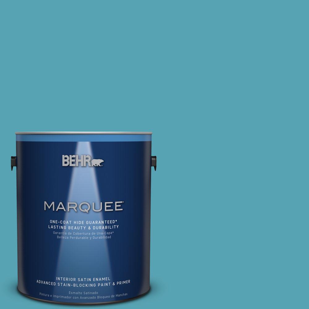 1 gal. #M470-5 Explorer Blue One-Coat Hide Satin Enamel Interior Paint