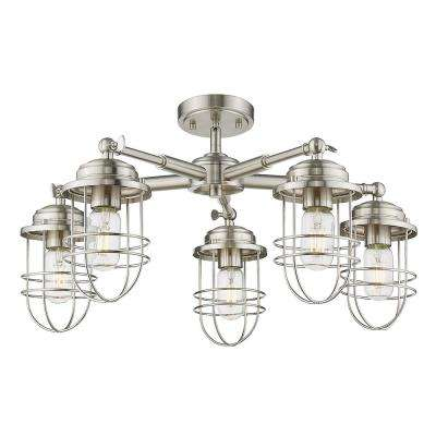 Seaport 5-Light Pewter Semi-Flush Mount Light