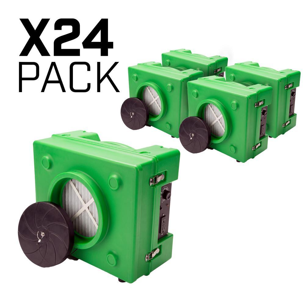 1/3 HP 2.5 Amp HEPA Air Scrubber Purifier for Water Damage Restoration Negative Air Machine in Green (24-Pack)