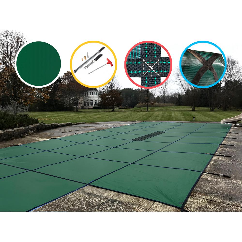 WaterWarden 20 ft. x 40 ft. Rectangle Green Solid In-Ground Safety Pool Cover Center End Step