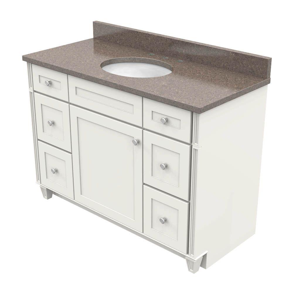 kraftmaid 48 in vanity in dove white with natural quartz vanity top in obsidian and