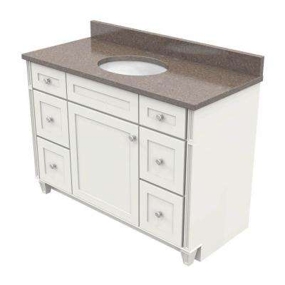 Vanity In Dove White With Natural Quartz Vanity Top In Obsidian And White