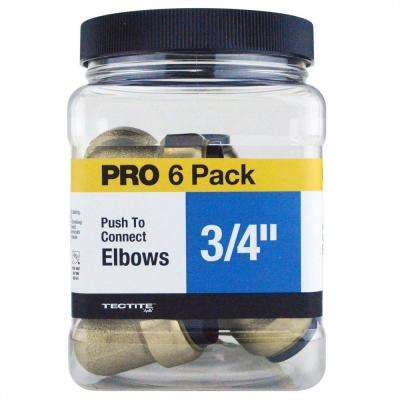 3/4 in. Brass Push-To-Connect 90-Degree Elbow Jar (6-Pack)