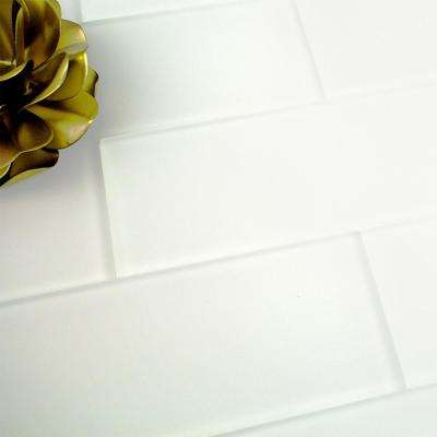 Contempo Bright White Frosted 4 in. x 12 in. x 8 mm Glass Subway Tile