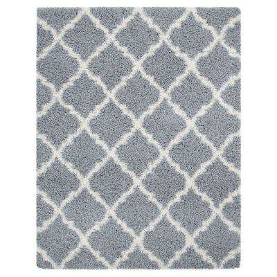 Ultimate Shaggy Contemporary Moroccan Trellis Design Gray 7 ft. x 9 ft. Area Rug