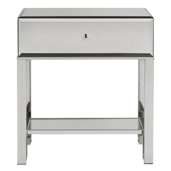 HomeSullivan Chrome Mirrored Metal End Table with Drawer 40E435-4CO(3A)