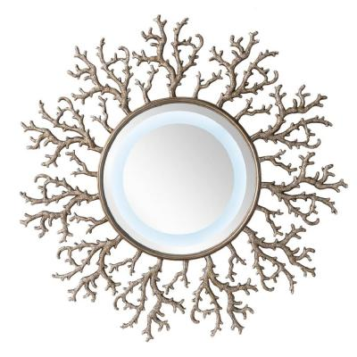 Coral Reef 42 in. W x 42 in. H Framed Wall Mirror in Burnished Silver
