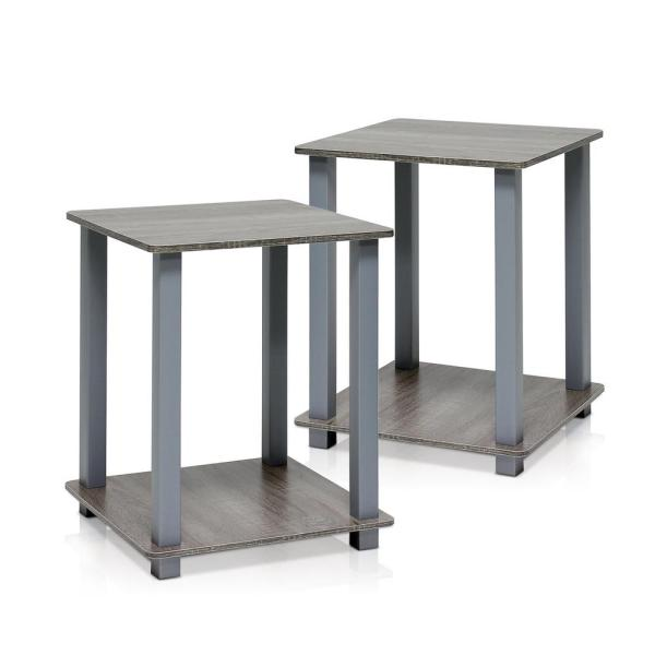 Furinno Simplistic French Oak Grey End Table (2 Pack)