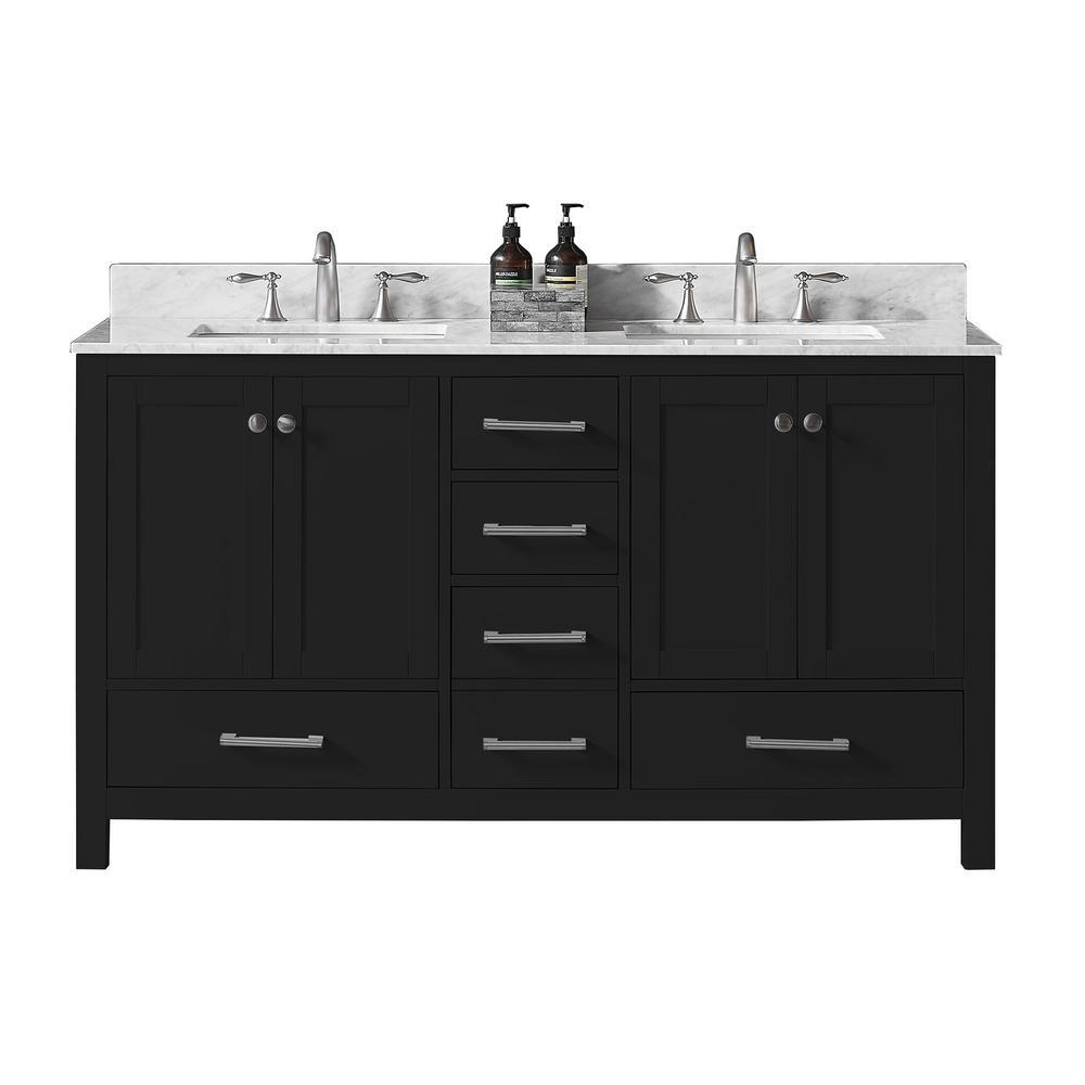 Colette 60 in. W x 22 in. D x 34.2 in. H Bath Vanity in Espresso w/ Carrara Marble Vanity Top in White w/ White Basin
