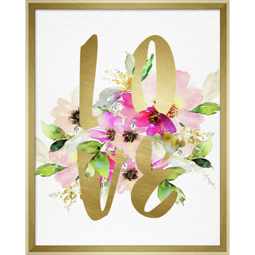 "Linden Ave 16 in. x 20 in. ""Love Layered Floral"" Framed Wall Art ..."