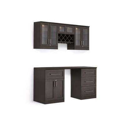Home Bar 6-Piece Espresso Shaker Style Bar Cabinet