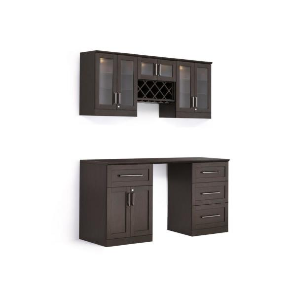 Newage Products Home Bar 6 Piece Espresso Shaker Style Bar Cabinet