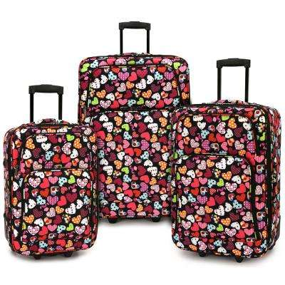 Love Hearts 3-Piece Expandable Rolling Luggage Set