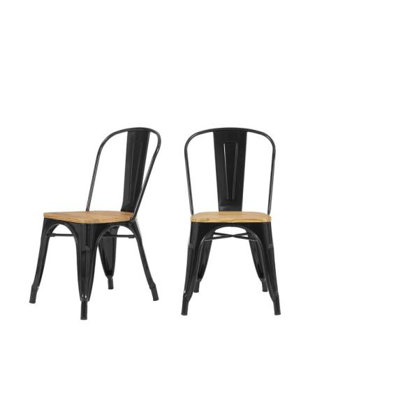 Finwick Black Metal Dining Chair with Wood Seat (Set of 2) (17.72 in. W x 32.68 in. H)