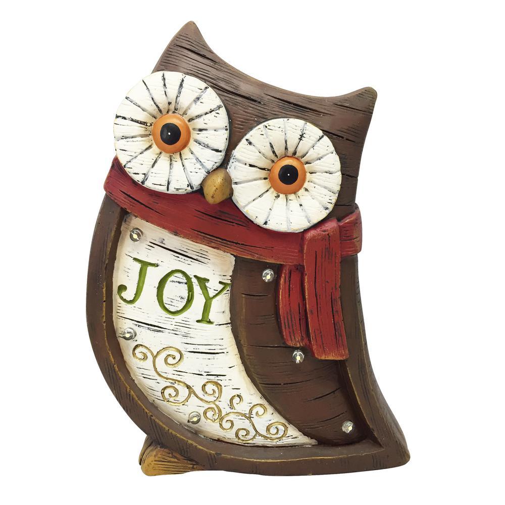 Christmas Statue Decorations: Alpine Christmas Owl Light Up Statue Decor- TM-BEH110HH-TM
