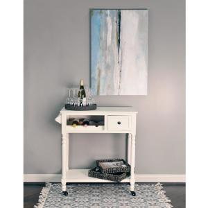 Decor Therapy White Rolling Bar Cart with Wine Rack by Decor Therapy