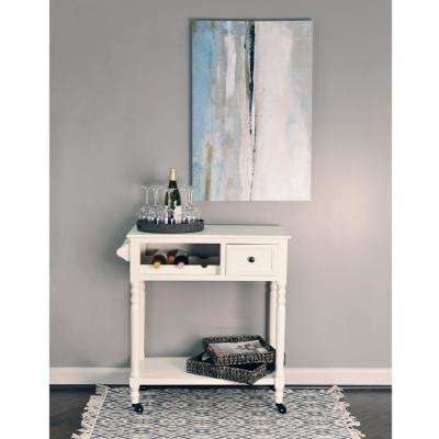 White Rolling Bar Cart with Wine Rack