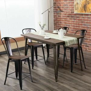 Fantastic Costway Copper Set Of 4 Metal Wood Counter Stool Kitchen Pdpeps Interior Chair Design Pdpepsorg